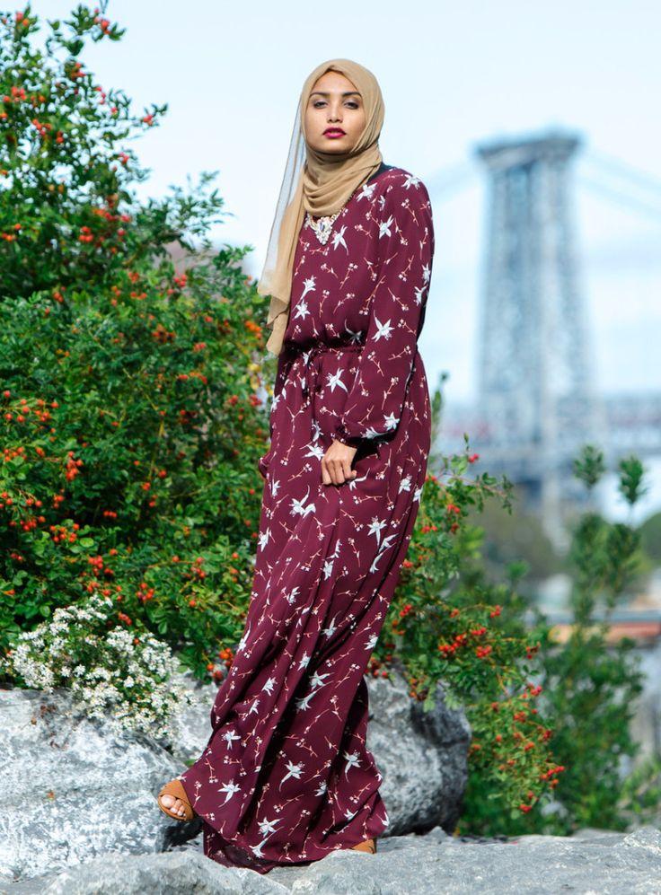 Maroon Floral Drawstring Maxi Dress