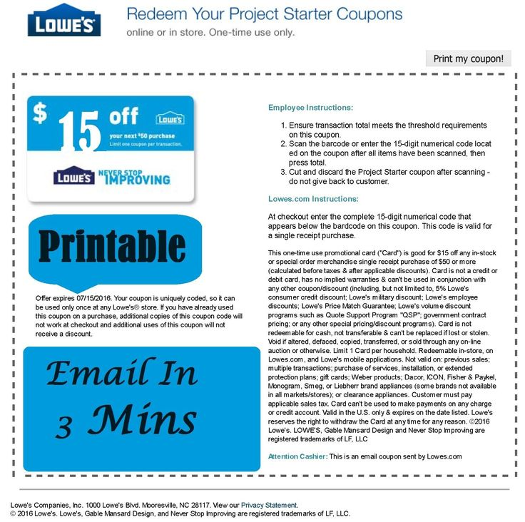 Coupons: Five (5X) Lowes $15 Off $50 Promotion---Discount In-Store And Online-Exp 8 4 17-- -> BUY IT NOW ONLY: $7.95 on eBay!
