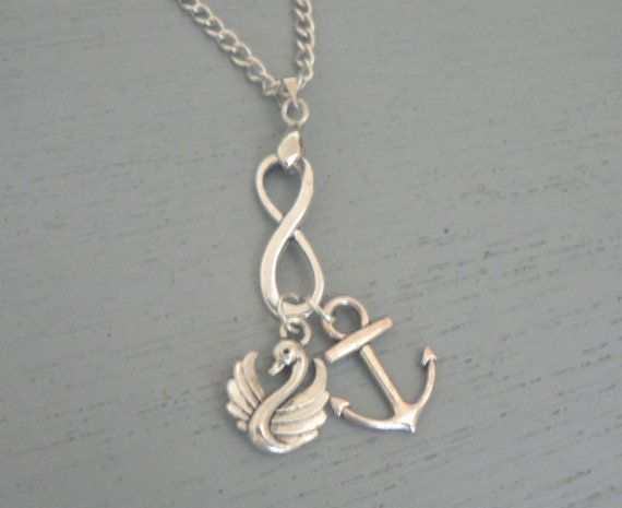 Captain Swan Forever Necklace Once Upon A Time  ABC Tv Show Inspired Jewelry OUAT Emma Swan Captain Hook on Etsy, $18.00