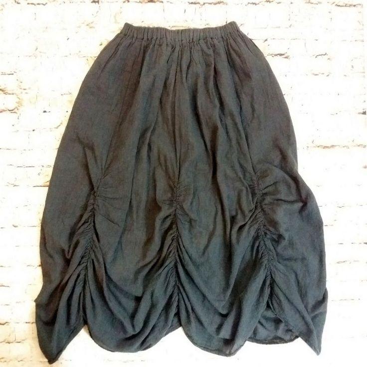 Gray Cotton Gauze Skirt w Ruching S M Dbl Layer Boho Festival Lagenlook Thailand #unknown #Ruched