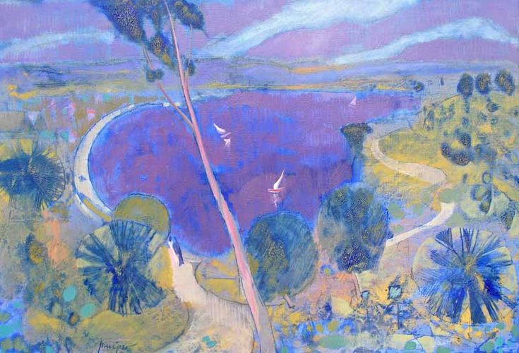 """""""The Park"""", 2000, by Robert Juniper (1929-2012), Mixed Media on Belgian Linen, 61 x 91cm. Sold for $11,941 in November 2012 (McKenzies Auctioneers Perth). Image was used in a calendar to promote Kings Park."""