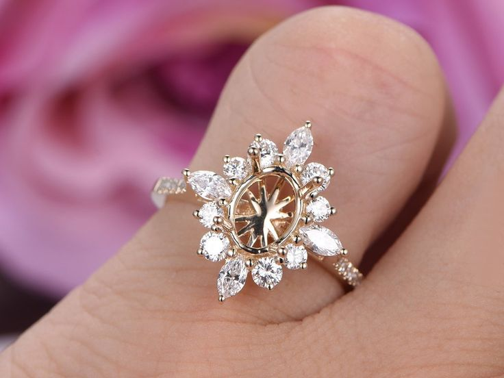 Marquise Diamond Halo Engagement Semi Mount Ring 14K Yellow Gold Oval 6x8mm
