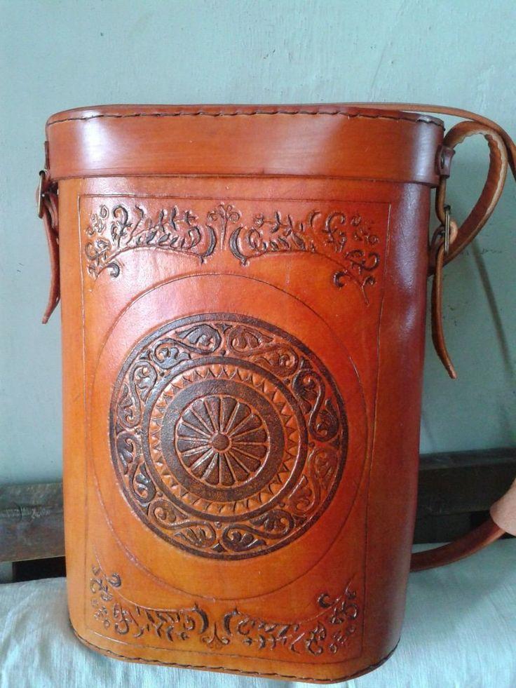 mandala bolso matera cuero personalizada objetos de cuero