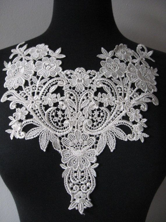 Venise lace applique, lace, appliques, guipure applique, white scroll floral rayon patch, venise trim bridal applique, G28-416