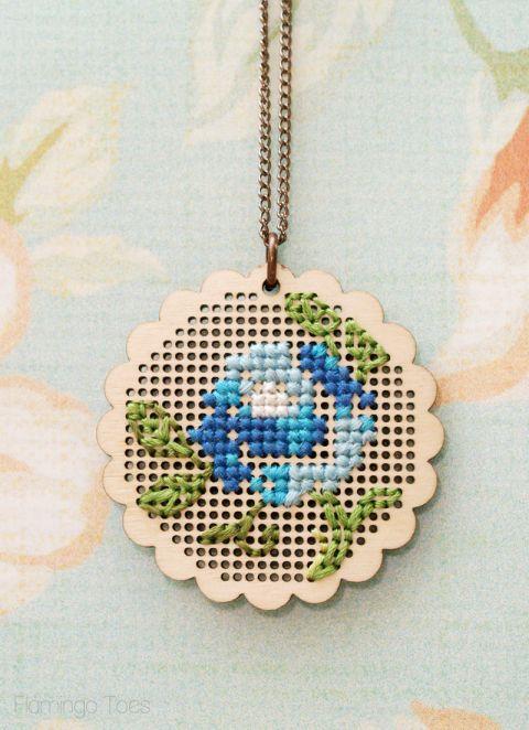 Floral Cross Stitch Necklace