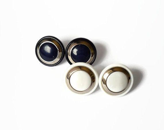 Sailor tiny stud earrings elegant sailor style earring, white and dark blue earring dot by treasurecreator, $8.00