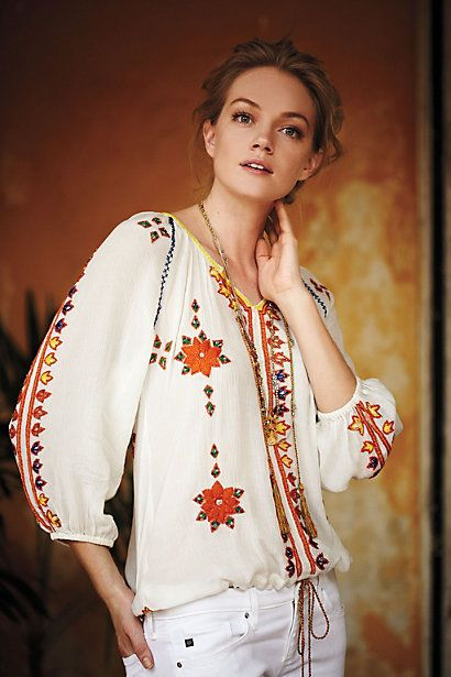 Stitched Dahlia Blouse #anthropologie