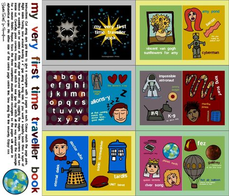 my very first time traveller book fabric by scrummy on Spoonflower - custom fabricTime Travel, First Time, Fabrics Book, Travel Book, Doctors Who, Dr. Who, Baby Book, Alphabet Book, Fabric Books