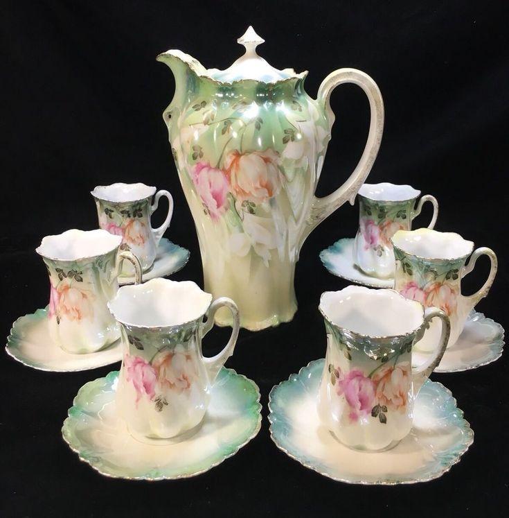 Antique RS PRUSSIA Green/Pink/Orange Iridescent 13-Piece 'TULIPS' CHOCOLATE SET - Chocolate Pot, Chocolate Cups & Saucers