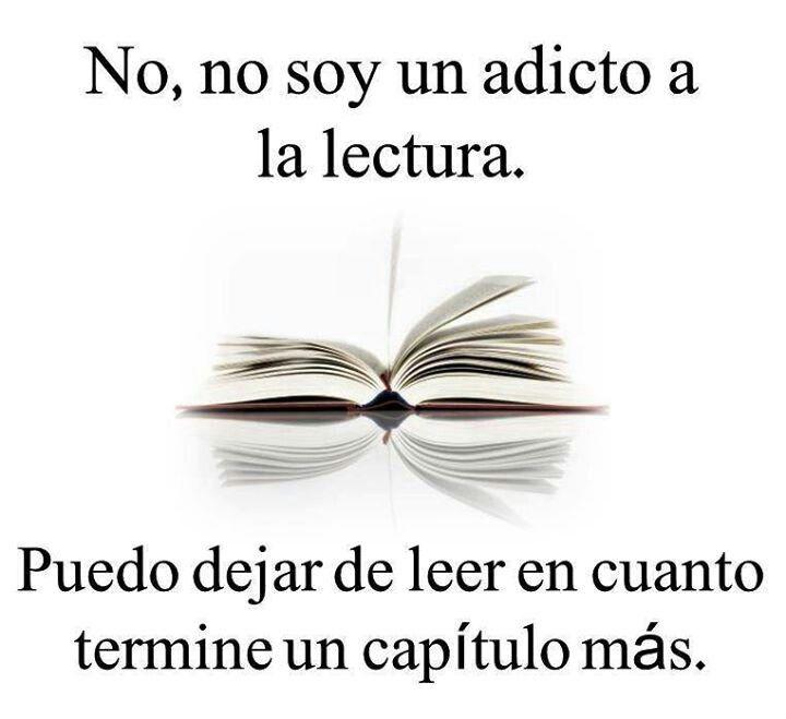 No, no soy un adicto a la lectura. Puedo dejar de leer en cuanto termine un capítulo más.