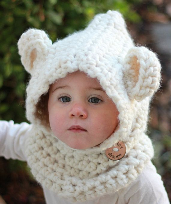 Crochet Hooded Cowl Cream Cowl Bear Cowl Cowl with by lilfoxshoppe