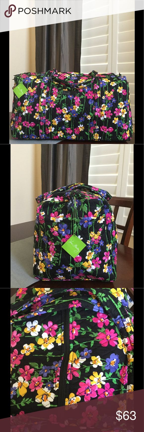 """NWT VERA BRADLEY LARGE DUFFEL Brand new with tags Vera Bradley large duffel  Wildflower garden pattern  15"""" strap drop Handy outside end pocket Folds flat for easy storing Dimensions 22"""" W x 11½"""" H x 11½"""" D - 15"""" strap drop Duffle Smoke/pet free home Vera Bradley Bags Travel Bags"""