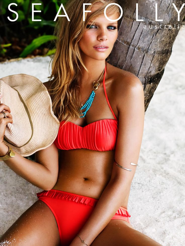Seafolly 2012, Kiara Bustier, Bandeau Top, Hipster Pant. Coral is the hot color for beachwear 2013