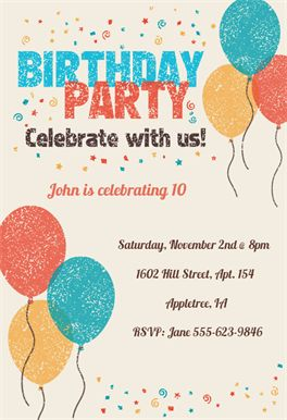 Celebrate with Us - Free Printable Birthday Invitation Template | Greetings Island