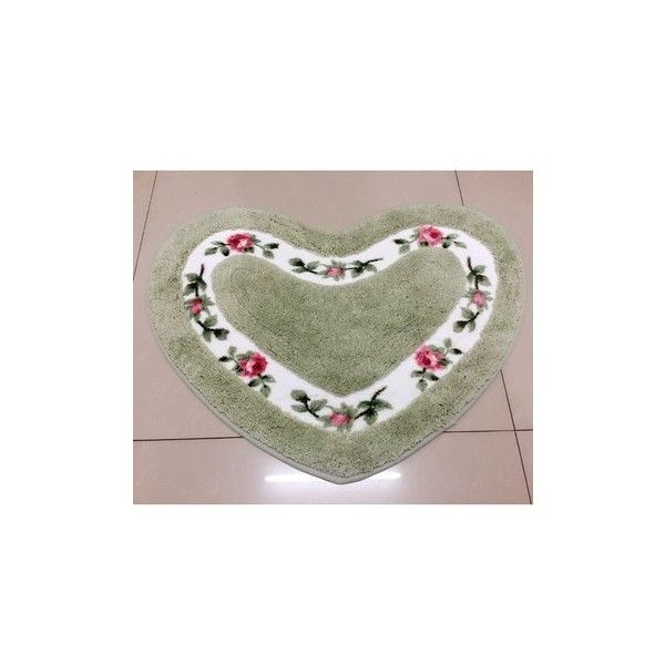 Soft Polyester Rose Flower Heart Shape Door Room Mat  Anti Slip Rug... (14 CAD) ❤ liked on Polyvore featuring green