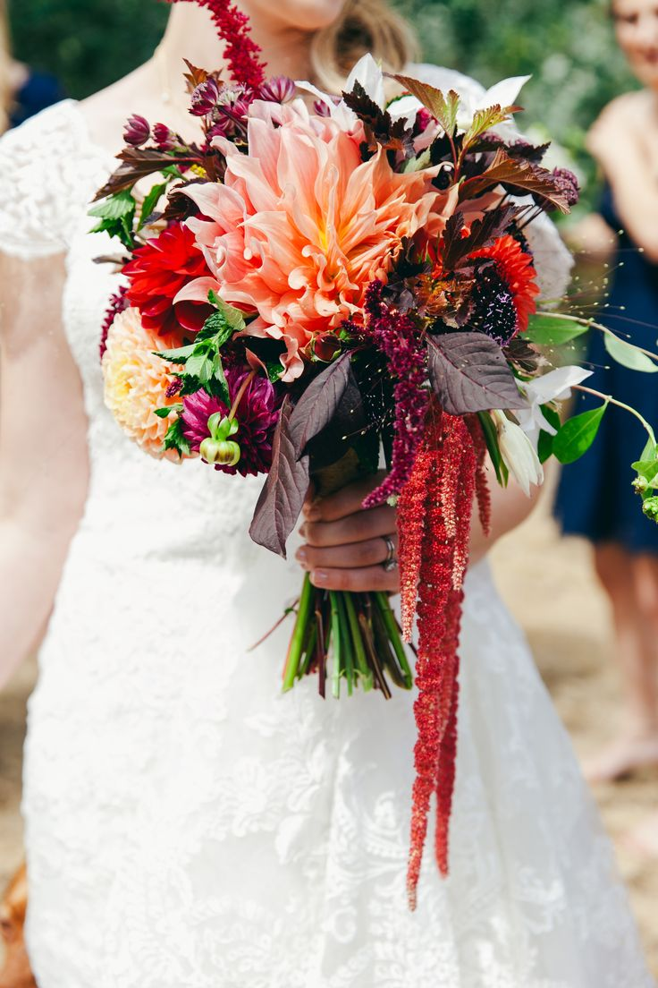Deep summer bridal bouquet by Flying Bear Farm + Design on Whidbey Island, WA - Photography by Love Song Photo