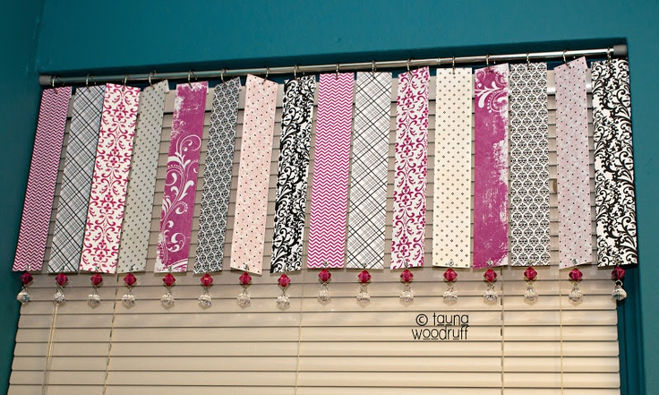 I so want to do this in my craft room! creative confetti: Paper Scraps Make a Window Wrap (valance tutorial)