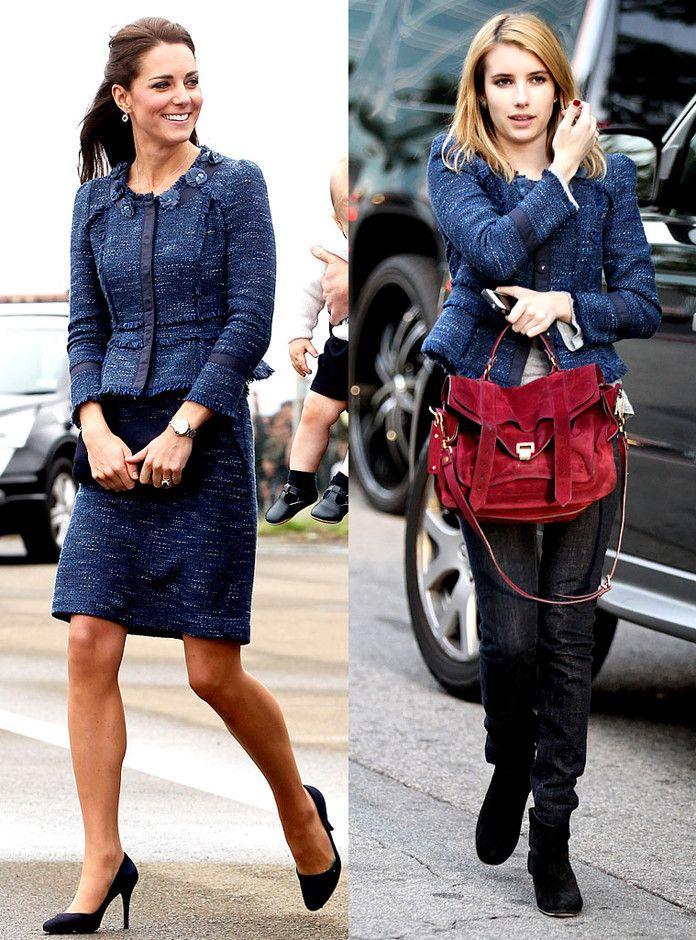 Emma Roberts tiene el mismo buen gusto al vestir que la duquesa Kate Middleton. Cada una lució muy a su estilo esta chaqueta Rebecca Taylor. ¿Te gusta su look?  #Fashion #FashionFaceOff
