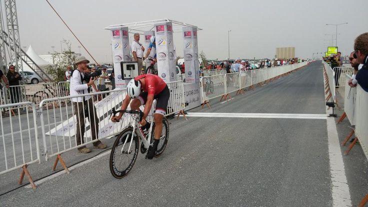 "Tour of Qatar @tourofqatar_ Fabian Cancellara is 1""02 ahead of Bradley Wiggins on the finish line! #TourofQatar pic.twitter.com/vURe5Wmppe"