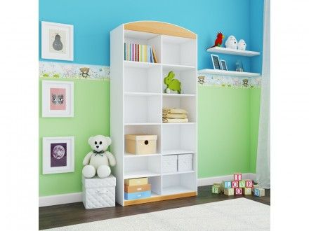 Designový regál s prostornými poličkami, je ideální pro uložení hraček, knih nebo oblečení.