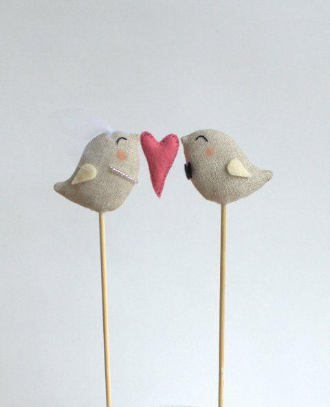 Plein d'amour oiseaux Wedding Cake Topper mariée et par DoTheDeco