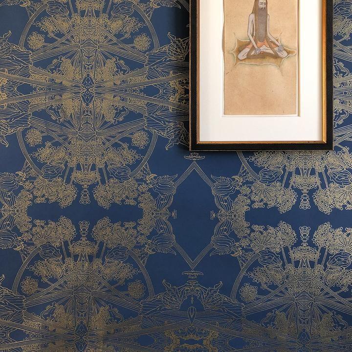 Sample botanicus wallpaper in navy + gold in 2020 Fern