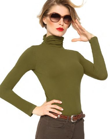$49.95  Elegant design shirt, 100 den, trapped high neck microfiber quality one size fits most: XS - S - M