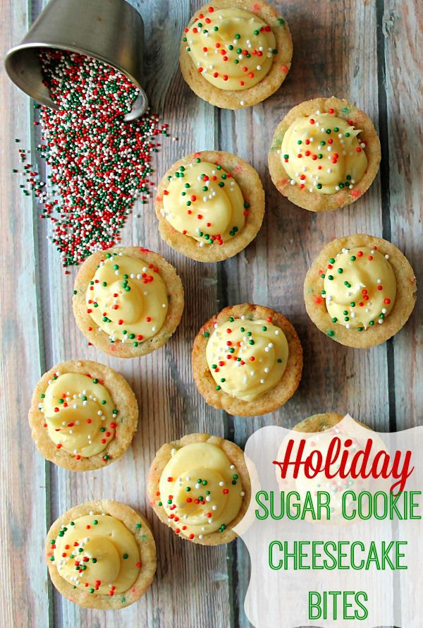 Holiday Sugar Cookie Cheesecake Bites My new favorite festive holiday treat!  These are addicting! Did I mention they are easy?! These will fly off your holiday dessert table!