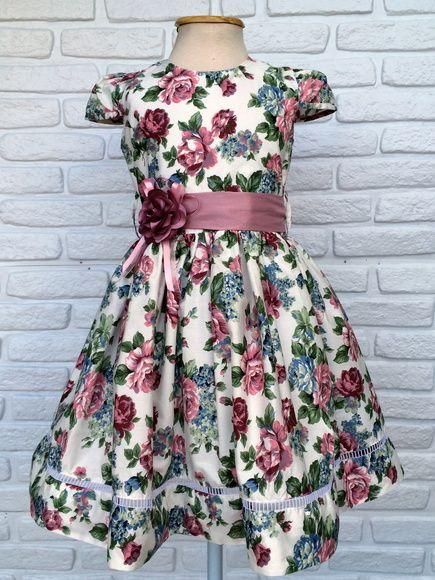 Vestido Floral Festa com aplique de Flor