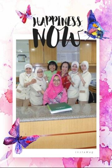 With nurse colleagues at Obstetric ward. Wearing pink blouse from Batik Amarillis collection Nov 2015