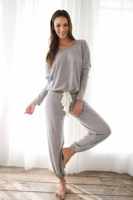 The Cutest Christmas Pajamas for women. Slouchy Tee with pants in Heather Gray