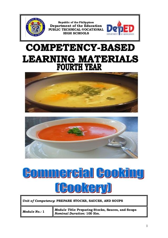 1 Unit of Competency: PREPARE STOCKS, SAUCES, AND SOUPS Module No.: 1 Module Title: Preparing Stocks, Sauces, and Soups No...