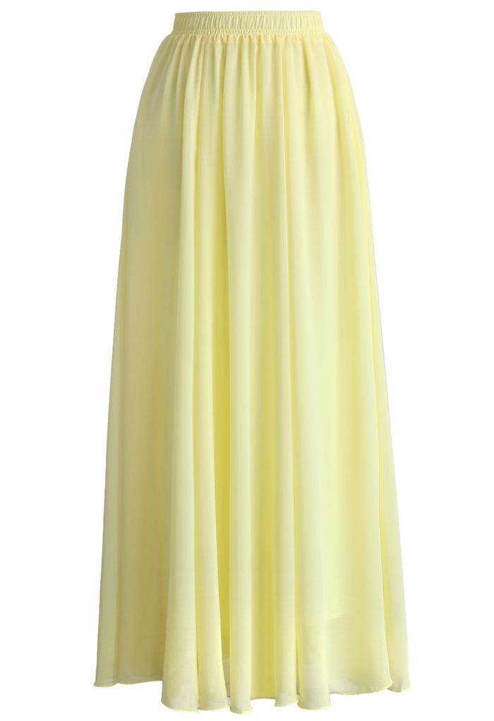 Light Yellow Chiffon Maxi Skirt - Skirt - Bottoms - Retro, Indie and Unique Fashion