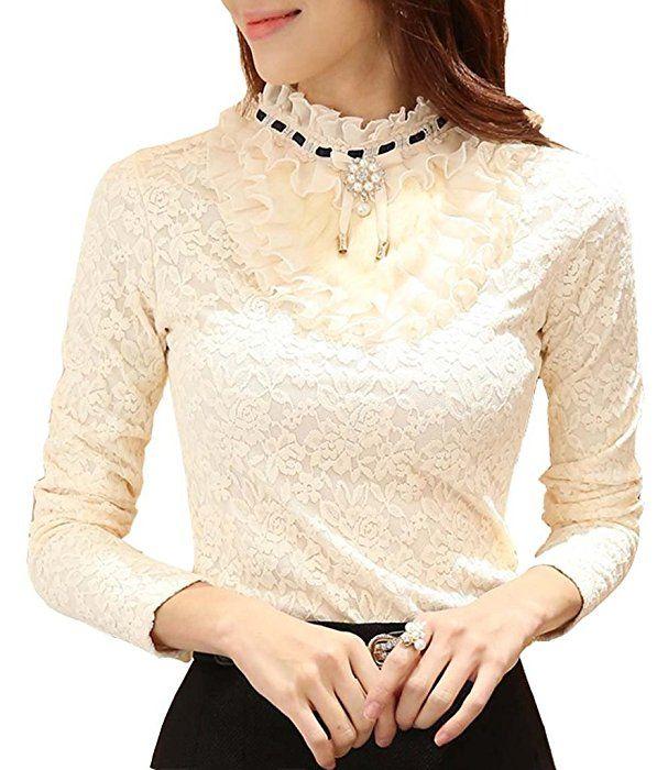 Minetome Damen Bequem Bluse Langarm mit Futter Hemdbluse Spitze Stickerei bluse Shirt Stehkragen Business Elegant Tops in 2 Farben ( Beige EU XS )