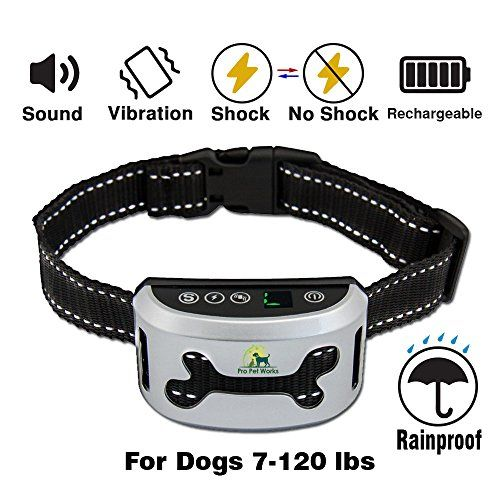Bark Collar By Pro Pet Works [2018] No Bark Collar With VIBRATION-Humane And RECHARGEABLE Barking Collar For Dogs-Bark Control For Small Medium And Large Dogs-Training Collar >HUMANE AND VERY EFFECTIVE: Our barking collar is humane and effective. This no bark collar has 3 levels of training which include sound, vibration and static shock. You can use them all together or separately. Using the proprietary vibration stimulus, the collar stops the barking by creating a response