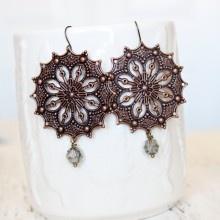 Lindsay Vintage Filigree Earrings- Grey. Beautiful by #hfgifts