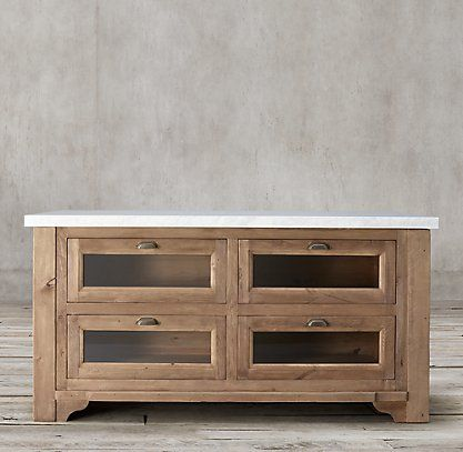 RH's 20th C. Salvaged Wood and Marble Kitchen Island