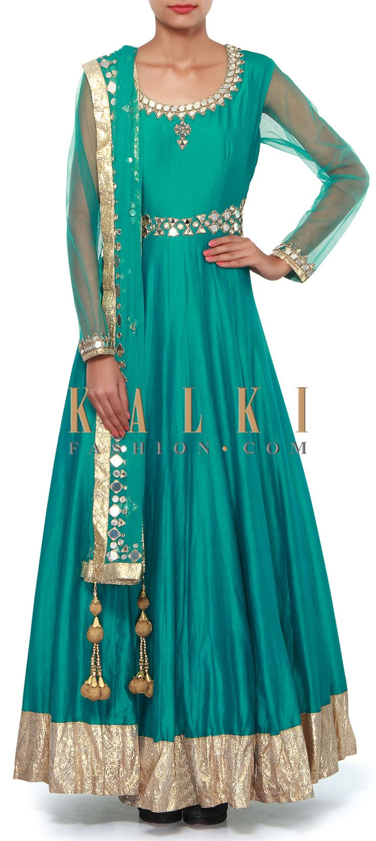 Buy Online from the link below. We ship worldwide (Free Shipping over US$100). Product SKU - 308410.Product Link - http://www.kalkifashion.com/teal-anarkali-suit-featuring-in-mirror-and-zari-embroidery-only-on-kalki.html