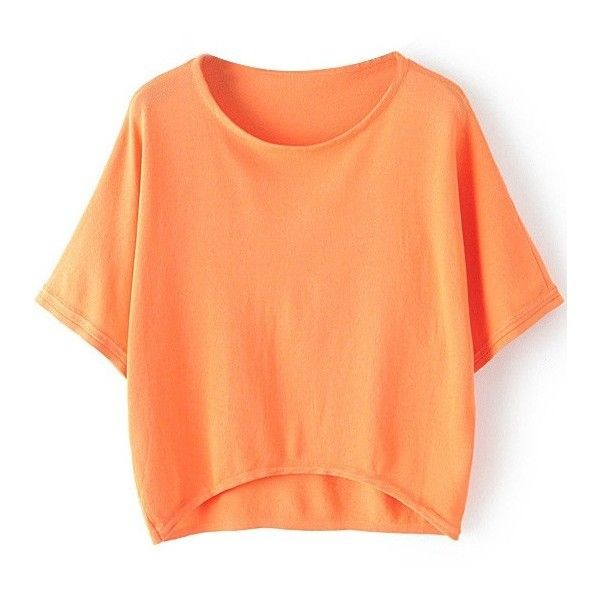 LUCLUC High Low Orange Batwing Sleeve Knit T-shirt ($19) ❤ liked on Polyvore featuring tops, t-shirts, shirts, red knit top, orange top, orange tee, red shirt and knit tops