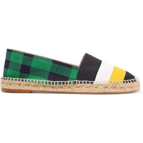 Stella McCartney Printed canvas espadrilles (10,730 INR) ❤ liked on Polyvore featuring shoes, sandals, multi, multi color shoes, colorful sandals, canvas slip on shoes, canvas shoes and multi color sandals