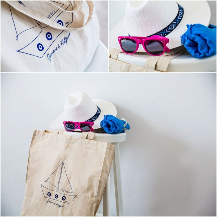 Wedding essentials for your warm welcome to the guests! Customised tote bag with the couple's logo including a fedora hat, sunglasses and pashmina to cope with the summer heat!