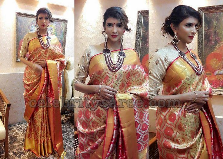 Lakshmi Manchu Gold Benaras Saree