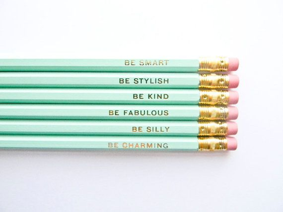 Gentle Reminders Pencils- Mint and Gold, Set of 6, Stocking Stuffers
