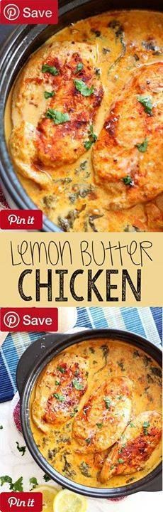 Lemon Butter Chicken - Ingredients Gluten free Meat 4 Chicken breasts Boneless Skinless Produce 2 cups Baby spinach 4 Garlic cloves 1 Lemon Juice of tsp Thyme dried Canned Goods 1 cup Chicken broth Baking & Spices tbsp Paprika 1 Dash Salt and fresh cracked pepper Dairy 3 tbsp Butter cup Heavy cream cup Parmesan cheese Beer Wine & Liquor 1 Splash White wine dry - Lemon Butter Chicken