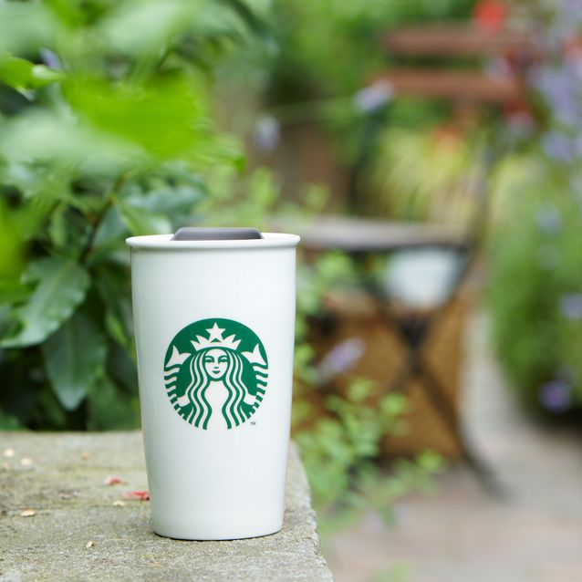 A ceramic travel cup with double wall construction and splash guard, for coffee on-the-go.