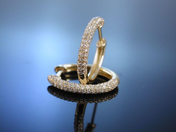 Funklendes Paar Diamant Creolen Gelb Gold 750 / 18 Kt, 180 Brillanten 0,74 ct, diamond earrings, hochwertiger Goldschmuck bei Die Halsbandaffaire