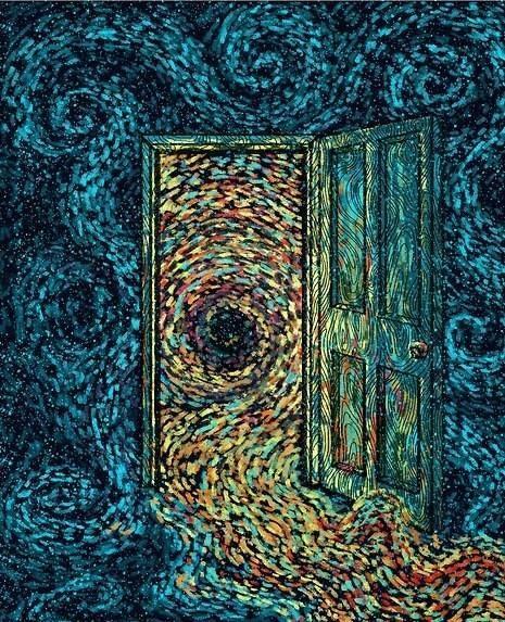 ik vind de compositie mooi, om de deur heen ze je donkere kleuren die een beetje een somber gevoel geven maar uit de deur komen van alle kleuren en het stroomt er uit, dat geeft geeft dus een ''don't judge a book by it's cover'' gevoel