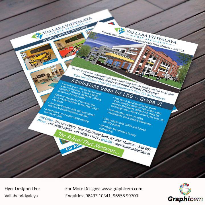 Flyer Designed For Vallaba Vidyalaya