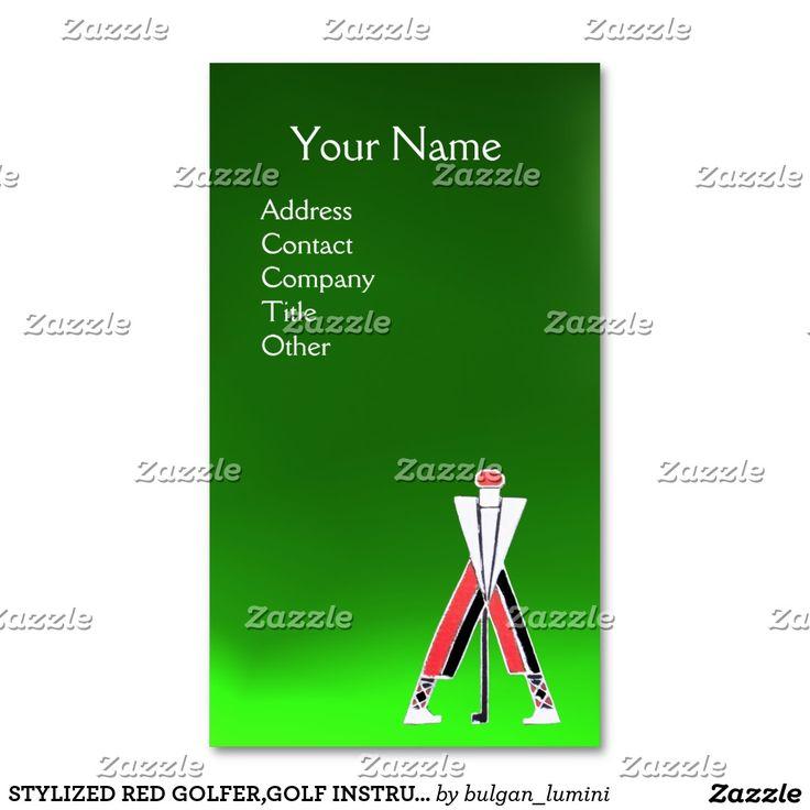 STYLIZED RED GOLFER,GOLF INSTRUCTOR MONOGRAM Green Diuble Sided Business Card #golf #golfplayer #golfer #sport #fashion #sports #golfers