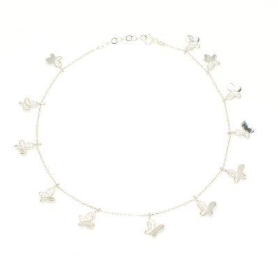 925 Ayar Gümüş 12 Kelebekli Halhal Bileklik, Beyaz - Beyaz Taş